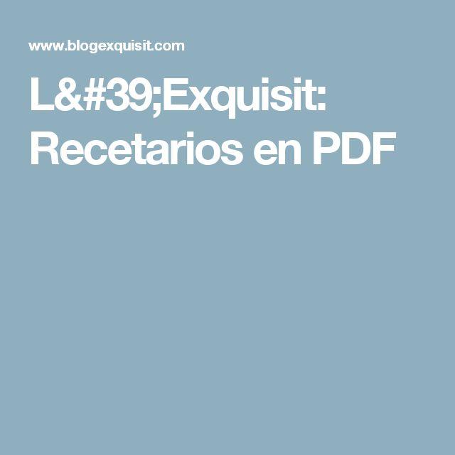 L'Exquisit: Recetarios en PDF