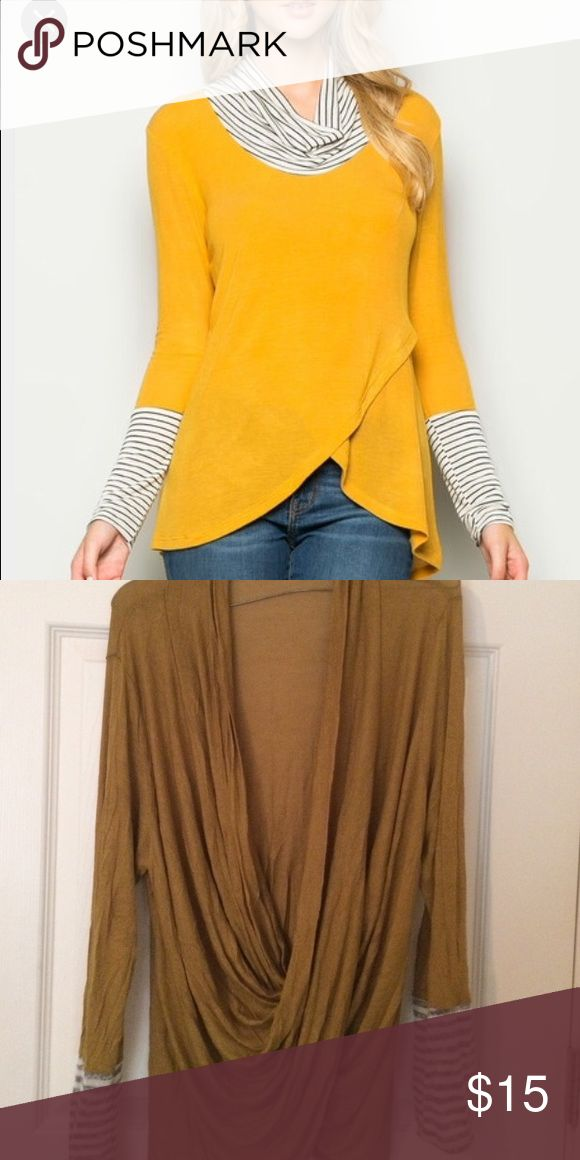 Dark mustard yellow, drape twist top. NWOT tags. Deep mustard yellow, long sleeve top with cowl neck line and stripe accent on sleeves. Looser fit. Top photo is for reference only, not actual design of shirt. Tops Blouses