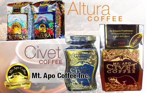 Mt. Apo Coffee Inc. Taste the exquisite richness of the finest and ripest beans from coffee berries found only in the Mt. Apo ranges. Introduced by the Davao Crocodile Park, Inc., experience the exotic tastes of Mount Apo Civet Coffee, Mount Apo Altura Coffee and the Coffee Shop Roast.  Visit VigattinDeals.com Food Dining or follow this link http://vigattindeals.com/deal/fefda9529927c8f59c6b87748e84c5ec/#Mt.-Apo-Coffee-Inc