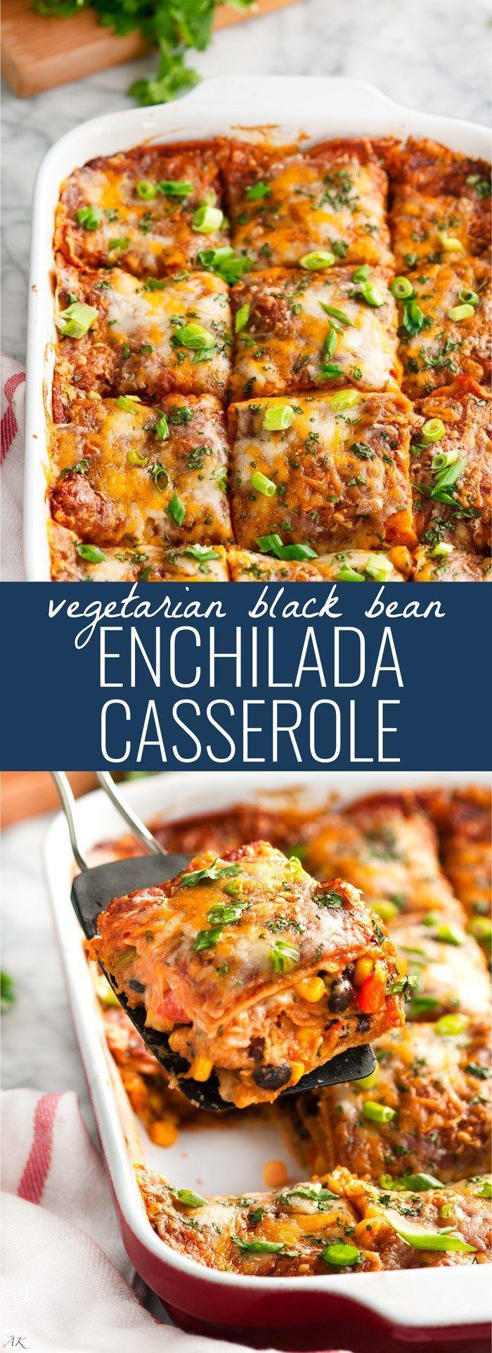Vegetarian Black Bean Enchilada Casserole   http://aberdeenskitchen.com