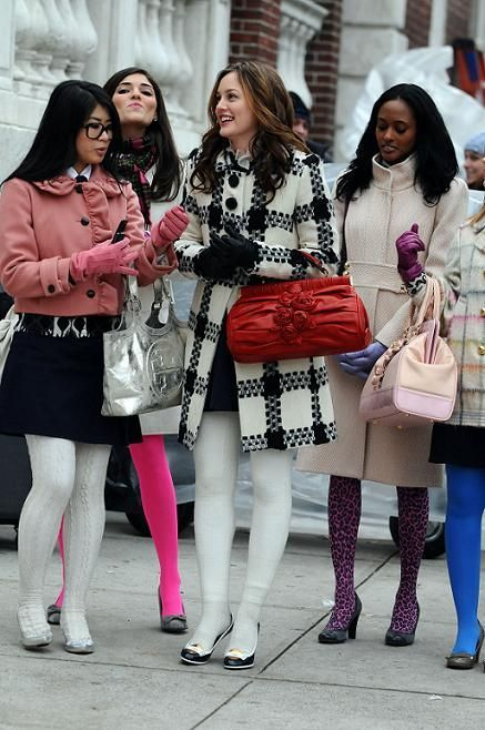 2x16 You've Got Yale. Milly Fitted Prep Coat, YSL Preppy pumps, Milly Ecru Wool Check Coat, Valentino bag.