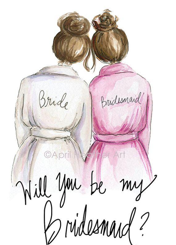 Bridesmaid PDF Brunette Bride and brunette by aprilheatherart, $7.00