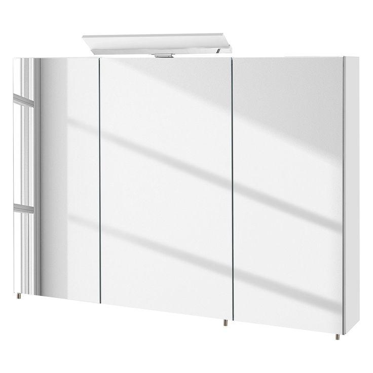 EEK A+, Spiegelschrank Venlo (inkl. Beleuchtung)   Hochglanz Weiß   100 Cm
