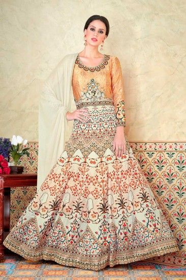 Satin Anarkali Suit With Dupatta In Gold And Cream Color - DMV15163
