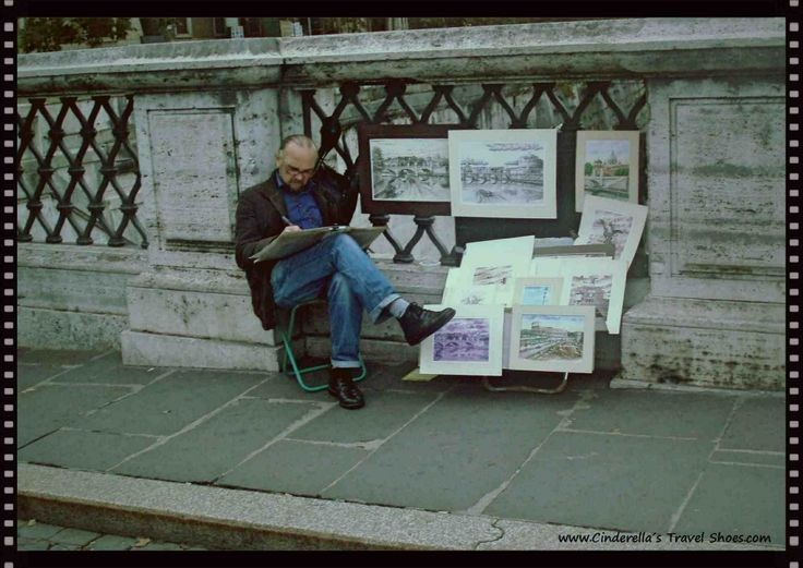 """The Artist in Ponte Sant'Angelo - """"Bridge of Angels"""" in Rome"""