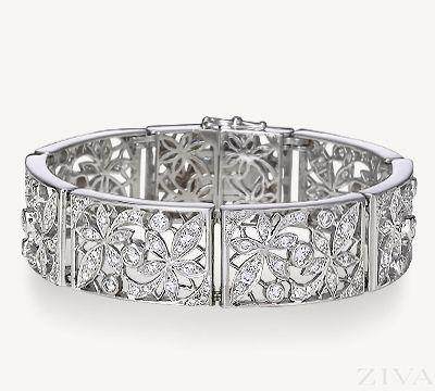 Floral Pattern Vintage Diamond Bracelet
