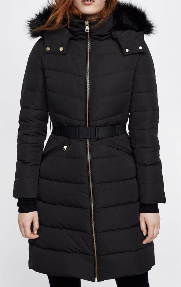 ZARA Green Down Feather Hooded Puffer Jacket Coat Size S uk 8