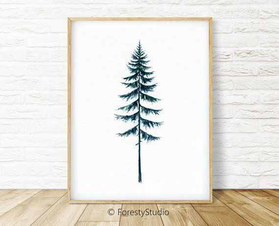 Evergreen Trees Printable Wall Art Pine Trees Print Watercolor Painting Minimali Art Eve In 2020 Printable Wall Art Scandinavian Art Print Tree Watercolor Painting