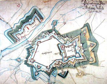 Plan der Zitadelle Jülich festung in neunzehntejahrhundert. - Map of fortifications in Julich in XIX century.