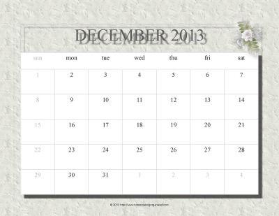 December 2013 Free Printable Fillable Calendar