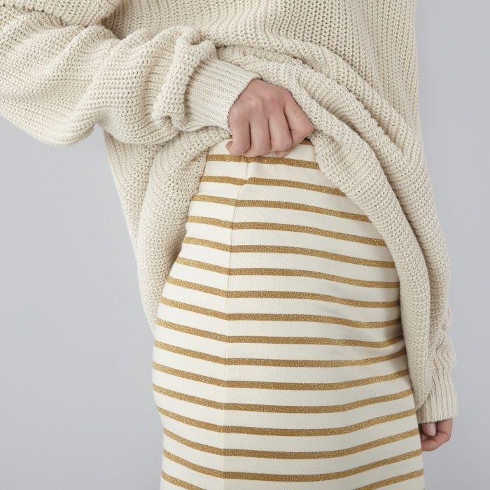 Ganni Lurex Sailor Skirt Natural Gliiter Stripes