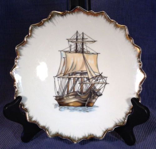 Set-Of-Four-Tall-Ships-Hanging-Plates-With-Scalloped-Gilded-Rims-Japan
