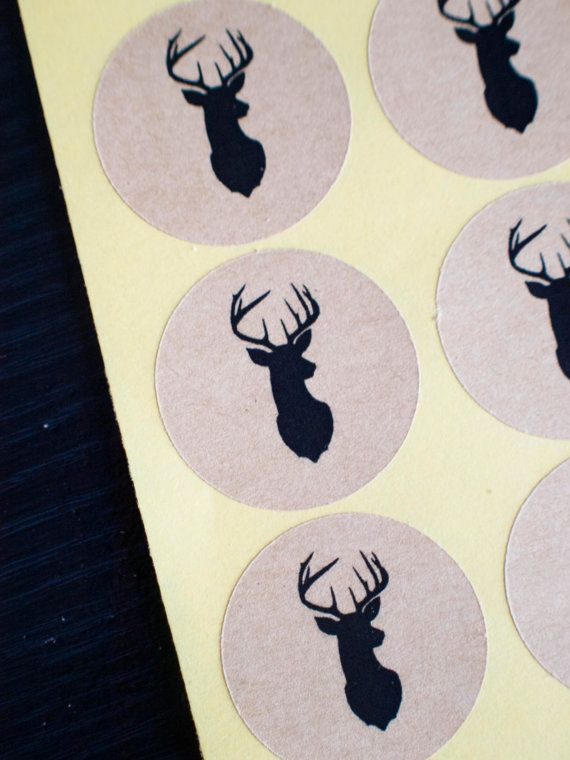 Deer Head 34mm round brown kraft stickers by ctdscraftsupply