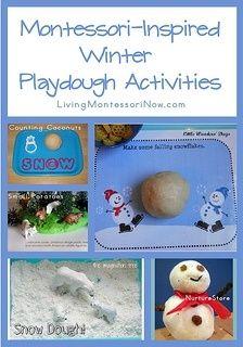 Montessori Monday – Montessori-Inspired Winter Playdough Activities - roundup with lots of Montessori-inspired activities for playdough trays or tables