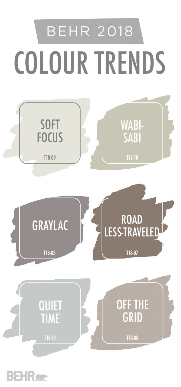 Create a warm and cozy space in your home with a little help from this neutral colour palette. Based on BEHR 2018 Colour Trends, this collection of paint colours is the perfect source of inspiration for your next DIY home improvement project. Click here to explore shades like Soft Focus, Road Less-Traveled, Off The Grid, and so much more.