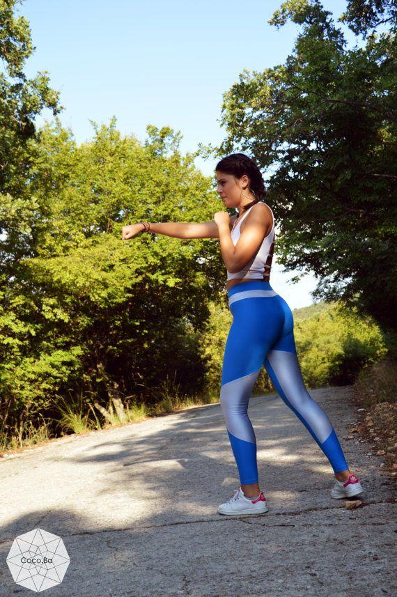 Women Leggings, Blue Light Blue Leggings, Women Clothing, Gym Clothing, Athletic Pants, Workout Leggings, Yoga Leggings, Stretch Leggings