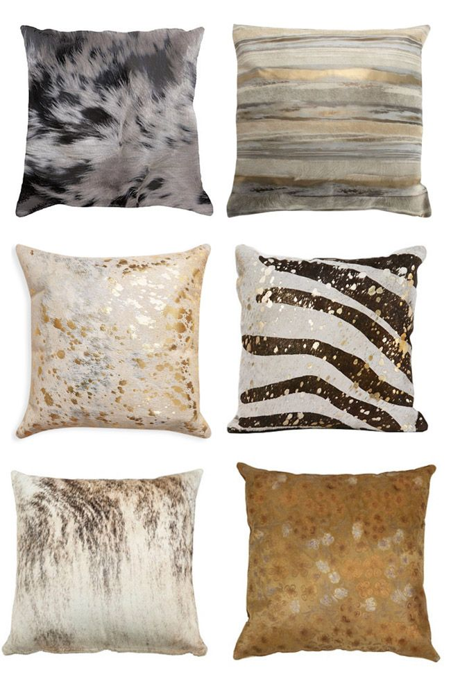 Non traditional cowhide pillows