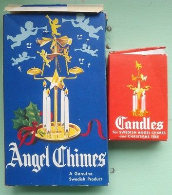 Vintage Swedish Angel Chimes Brass w Candles. Christmas Chimes. Christmas Bells.