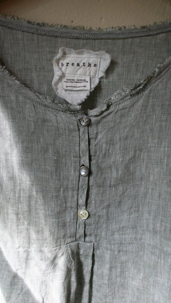 Natural Linen ' Bridget' Shirt / Lagenlook by BreatheAgainClothing