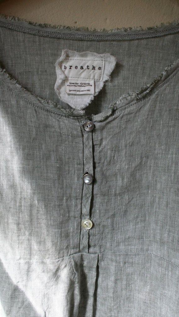 Natural Linen ' Bridget' Shirt / Lagenlook by BreatheAgainClothing