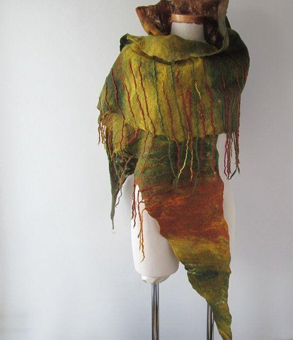 Brown Felted scarf, Green Yellow felt scarf, warm winter scarf, Wool wool shawl, women felt shawl by Galafilc  https://www.etsy.com/shop/galafilc