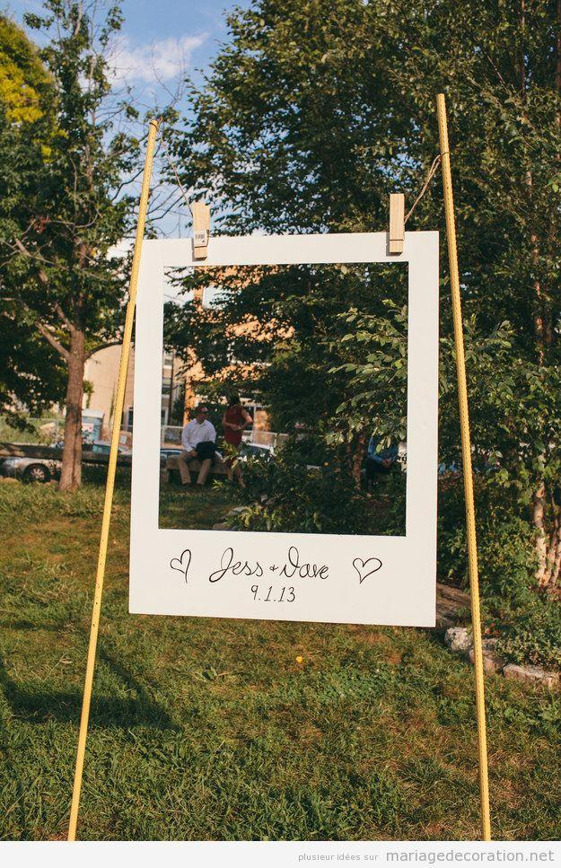 Grand cadre de pictures Polaroid DIY, mariage au jardin