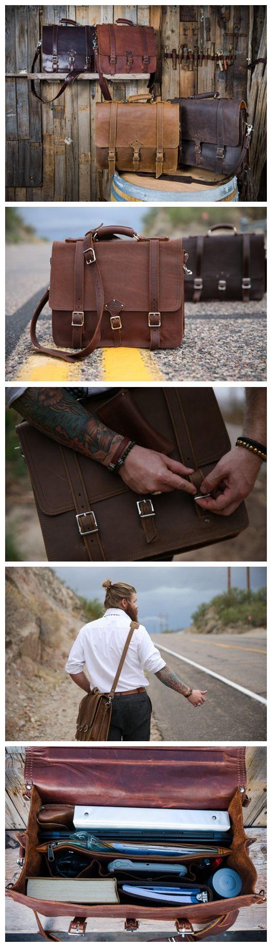 Men's Leather Messenger Bag Leather Briefcase Crossbody Bag Laptop Bag Shoulder…