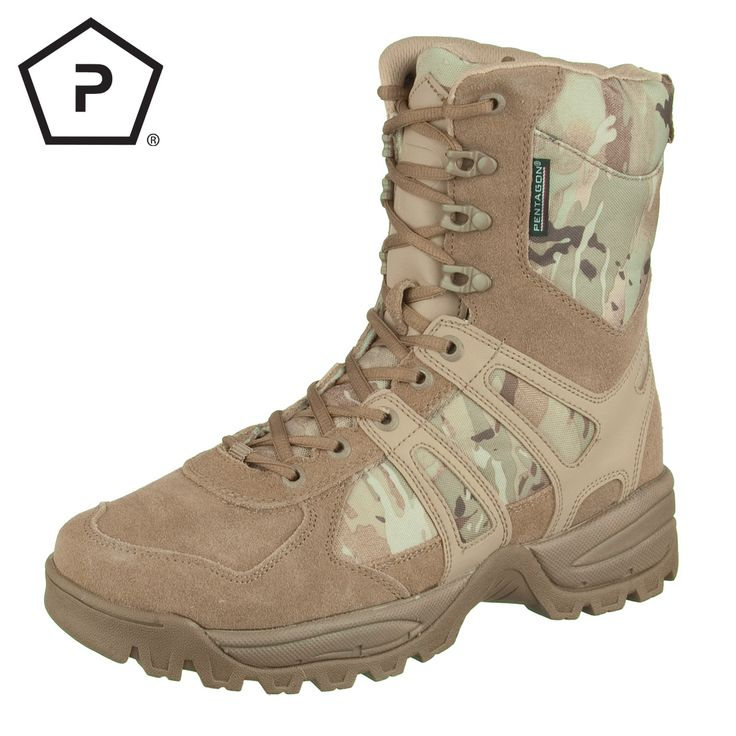 Pentagon Scorpion Desert Boots come with Suede Leather and 1200D Cordura Nylon upper, Coolmax inner liner and comfortable inner padding, moulded EVA midsole, rubber outer sole, strengthened toe cap and heel, and durable 550 paracord laces. Perfect for all kinds of outdoor actives such as hiking, trekking or hunting. Only £80.00! Find out more at Military 1st online store. Free UK delivery and returns! Competitive overseas shipping rates.