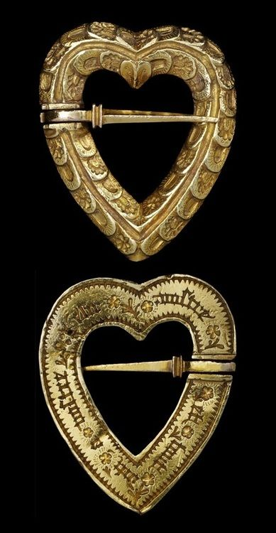 Medieval Gold Heart-shaped Brooch with sword clasp, c. 1400