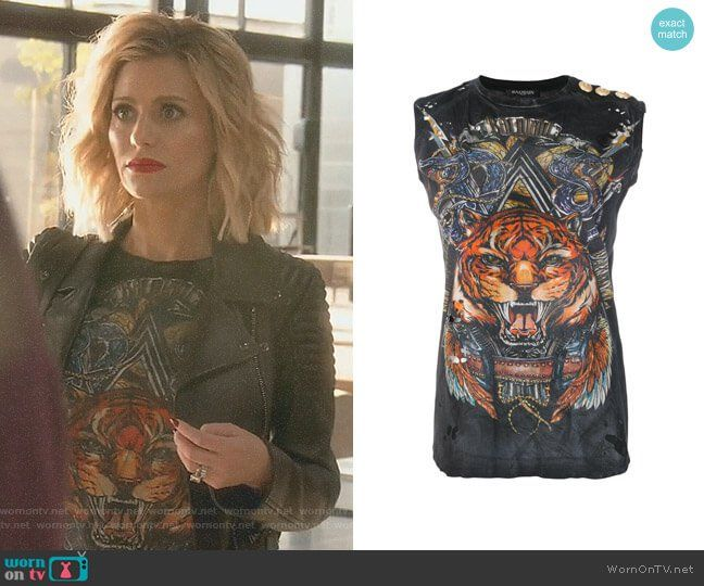 5181b297647 Dorit s black tiger print top on The Real Housewives of Beverly Hills.  Outfit Details