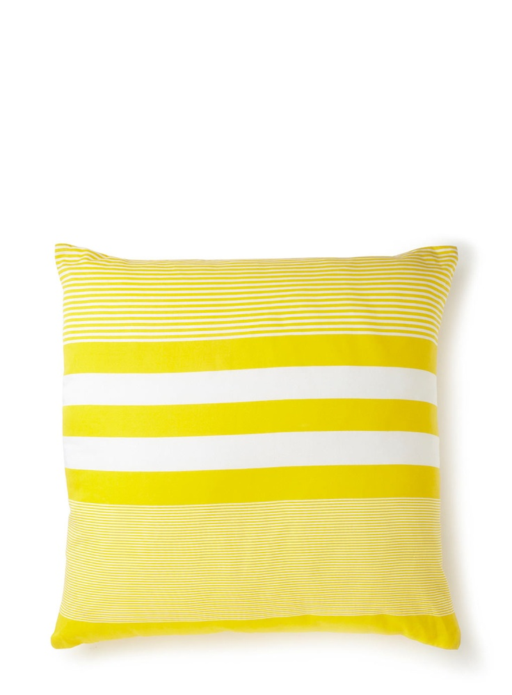 Summer Stripe Cushion BHS.  Cushions look great on a bed too, not just on sofas.  Love the lemon fresh colour.