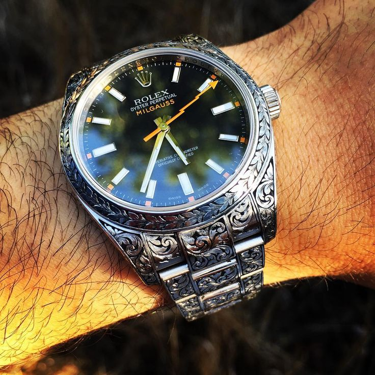 MadeWorn does a Rolex Milgauss with a fully engraved case and bracelet... And it's totally fantastic. Price is $16,000.