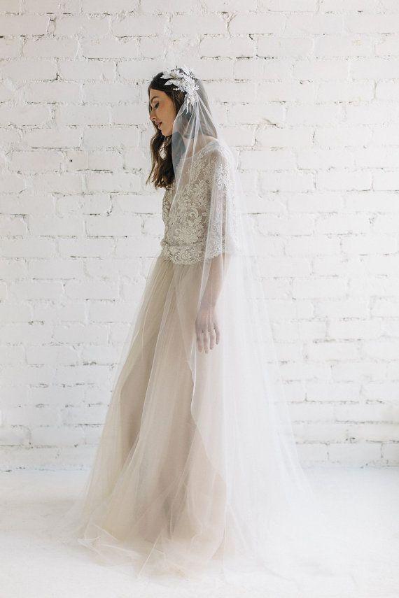 Bohemian trouwjurk twee stuk bruiloft jurk ivoor naakt Lace