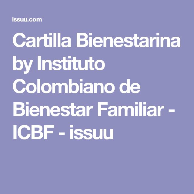 Cartilla Bienestarina by Instituto Colombiano de Bienestar Familiar - ICBF - issuu