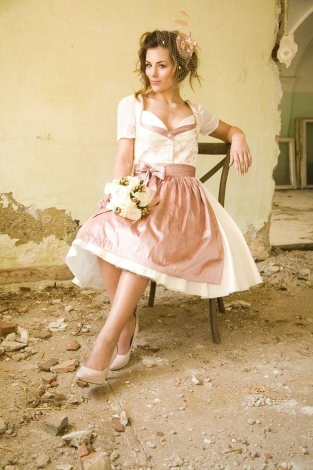 Ein Traum in rosé, Brautkleid, Dirndl, Hochzeitsdirndl / A dream come true in light-pink, Wedding gown, wedding dress, Dirndl by dilommi via DaWanda.com