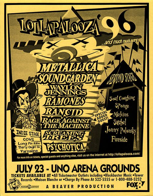 Lollapalooza 1996 at Rockingham Speedway in NC. The Ramones last tour!!!