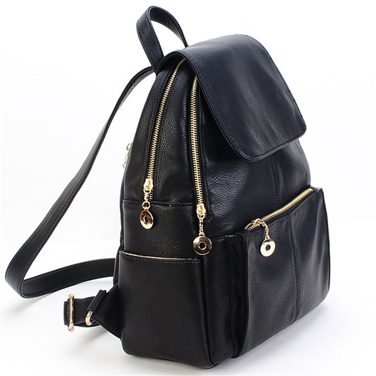 New 2016 Women England Preppy Style Backpack Lady Black School Bags Female PU Travel Backpack KSB164