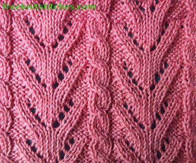 Thin twigs knitting stitches lace panel