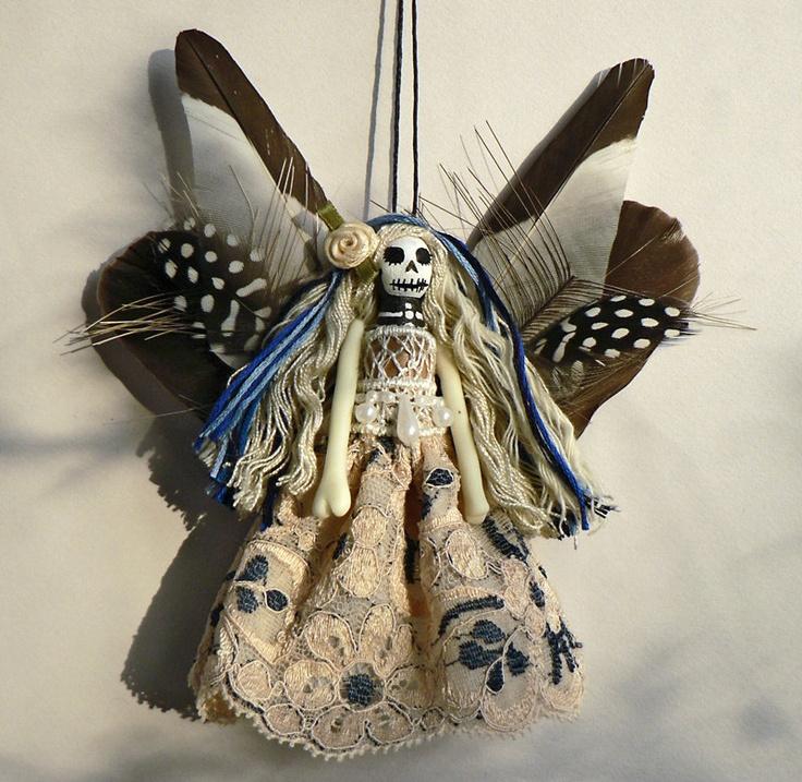 Day of the Dead Peg Doll Ornament, Skull Decoration, handmade skeleton fairy , OOAK ornament. £17.50, via Etsy.