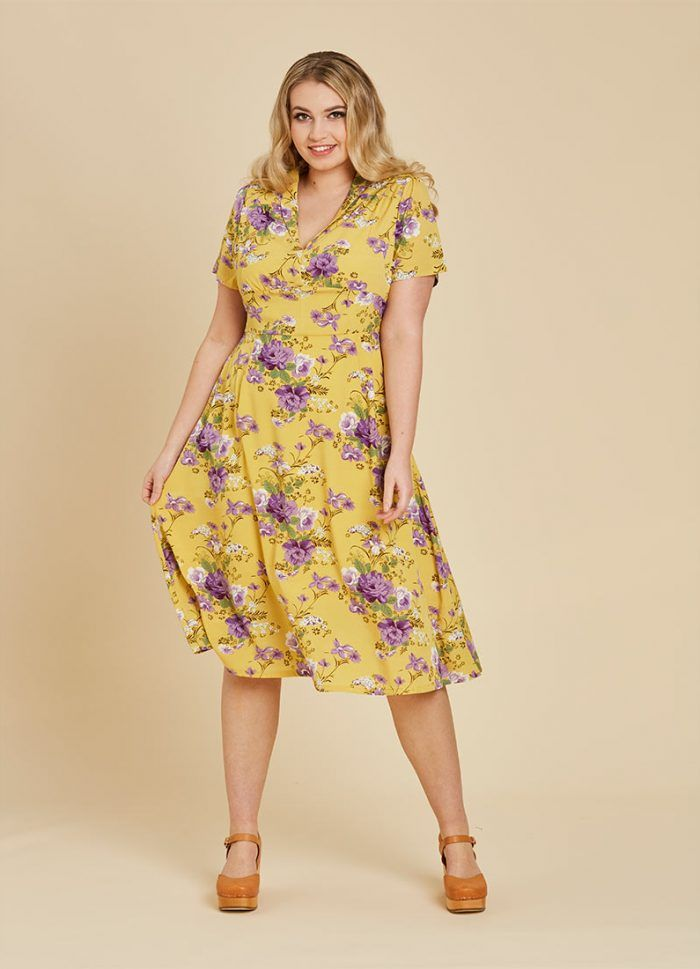 b3b37c09a0d Cassidy Floral Midi Tea Dress - Yellow