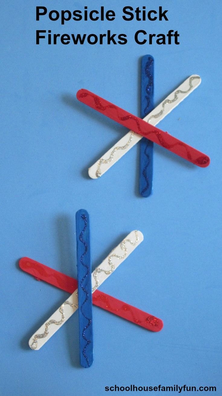 Popsicle Stick Fireworks Craft for 4th of July or Memorial Day by www.schoolhousefamilyfun.com