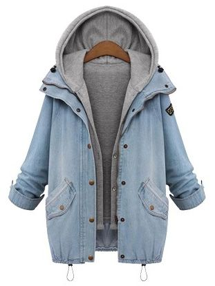 Fall fashion | Hooded Drawstring Boyfriend Trends Jean Swish Pockets Coat with cool top and sneakers. It is the fashion trendy!!!