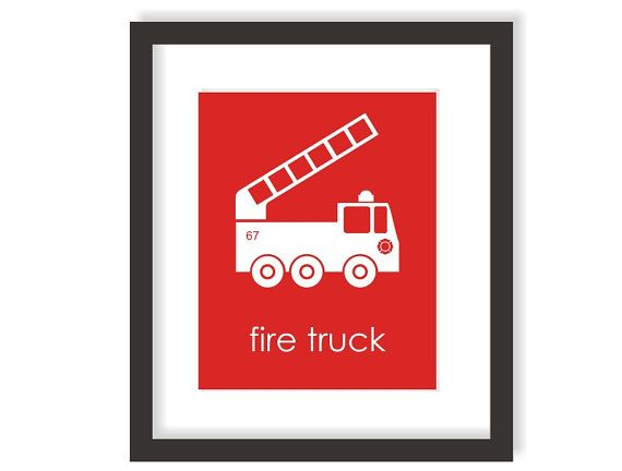 Fire Truck Nursery Art Print in Red, Baby Nursery Decor, Fireman Nursery, Fire Engine, children wall art, Kids Wall Art - 8x10 Print