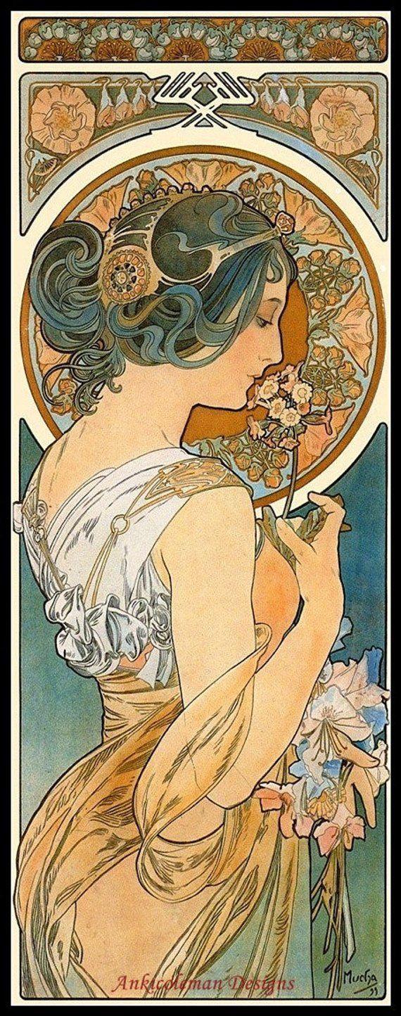 Art Nouveau Alphonse Mucha/'s Amants Poster Counted Cross Stitch Chart Pattern