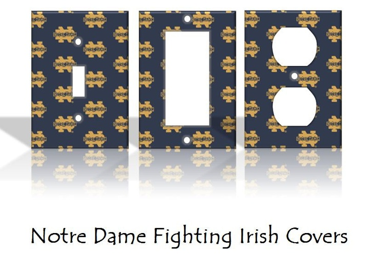 Notre Dame Fighting Irish Light Switch Covers & Wall Plates - Home Dorm Decor Pattern Outlet NCAA. $5.00, via Etsy.