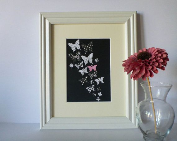 Butterfly Paper Wall Art  Black White with a Pop by 1981Collective