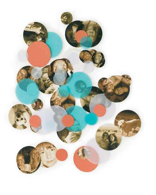 Class Reunion Decoration Idea - Make confetti from copies of yearbook photos that have been reduced in size.  Use 1/2-inch to 1-inch circle punches to cut out faces, as well as extra circles from colored paper in school colors and sprinkle on the tables at your reunion.
