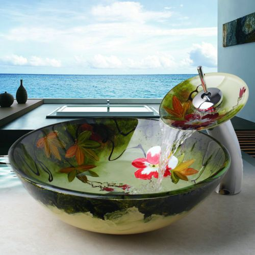 US-Bathroom-Art-Hand-Painted-Glass-Basin-Vanity-Sink-Bowl-Waterfall-Faucet-Set