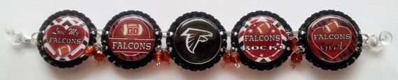 Atlanta Falcons Bottle Cap Bracelet w/ or by RevampedEcoJewelry
