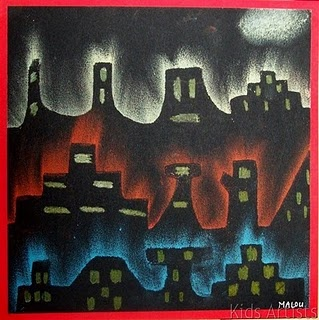kids art: dutch december skyline  : chalk pastel on construction paper